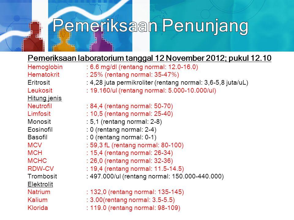 Pemeriksaan laboratorium tanggal 12 November 2012; pukul 12.10 Hemoglobin: 6.6 mg/dl (rentang normal: 12.0-16.0) Hematokrit: 25% (rentang normal: 35-4