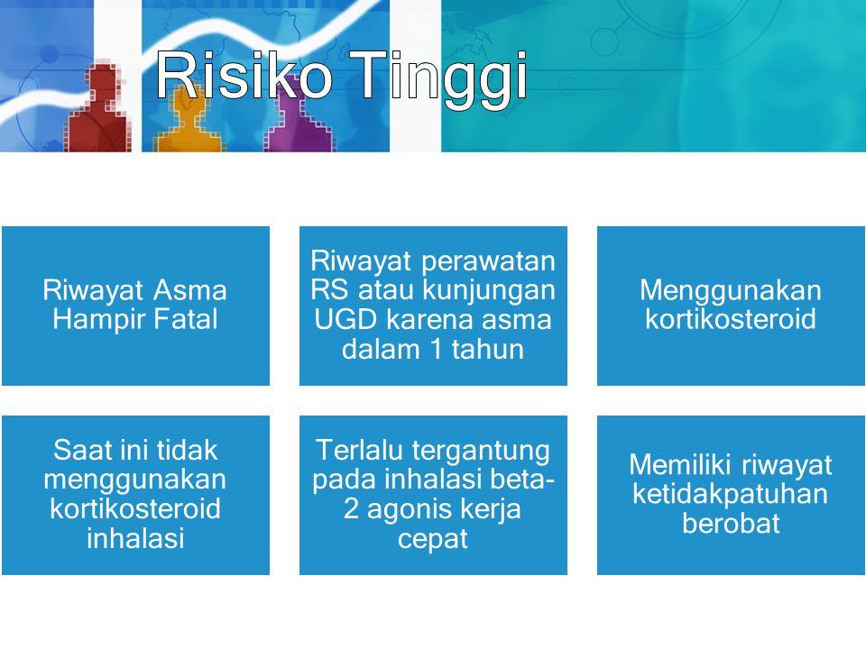 Riwayat Asma Hampir Fatal Riwayat perawatan RS atau kunjungan UGD karena asma dalam 1 tahun Menggunakan kortikosteroid Saat ini tidak menggunakan kort