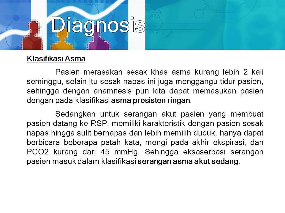 Klasifikasi Asma Pasien merasakan sesak khas asma kurang lebih 2 kali seminggu, selain itu sesak napas ini juga menggangu tidur pasien, sehingga denga