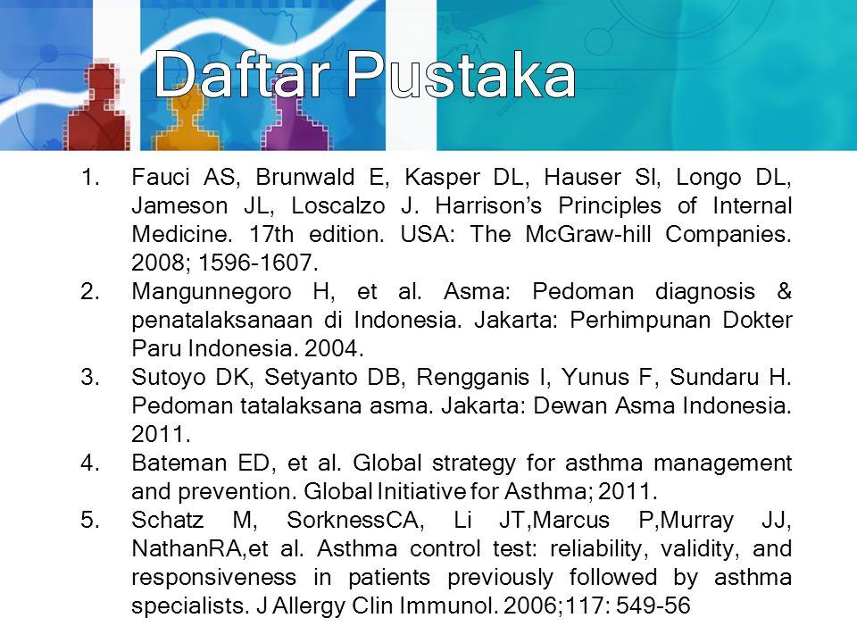 1.Fauci AS, Brunwald E, Kasper DL, Hauser Sl, Longo DL, Jameson JL, Loscalzo J. Harrison's Principles of Internal Medicine. 17th edition. USA: The McG