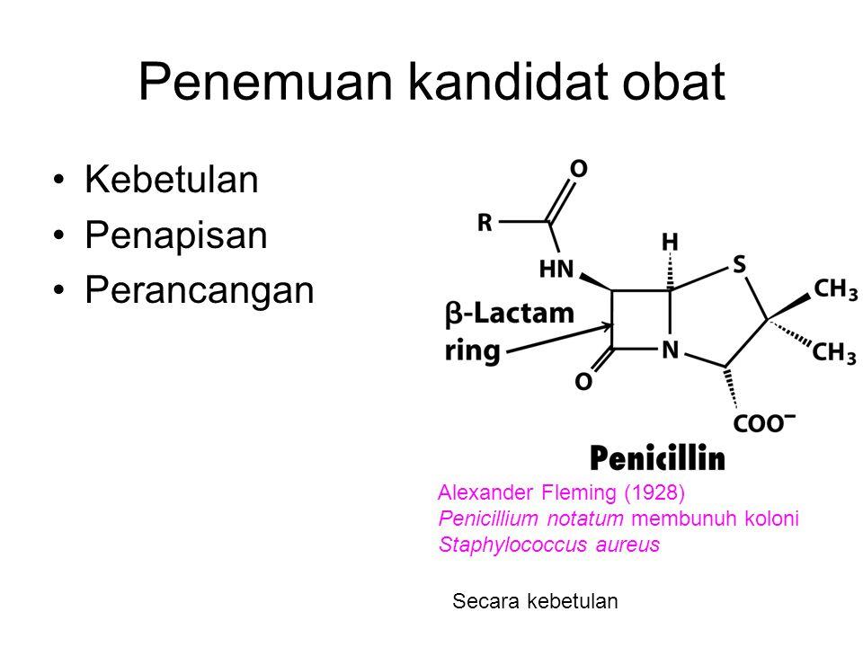 Penemuan kandidat obat Kebetulan Penapisan Perancangan Alexander Fleming (1928) Penicillium notatum membunuh koloni Staphylococcus aureus Secara kebet