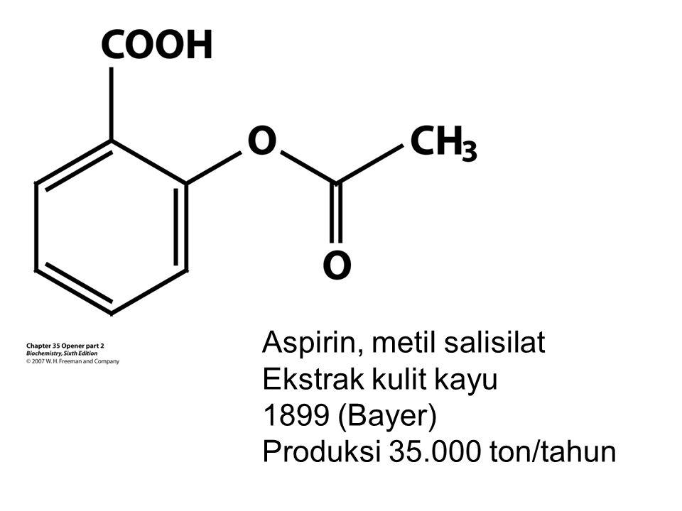 Aspirin, metil salisilat Ekstrak kulit kayu 1899 (Bayer) Produksi 35.000 ton/tahun