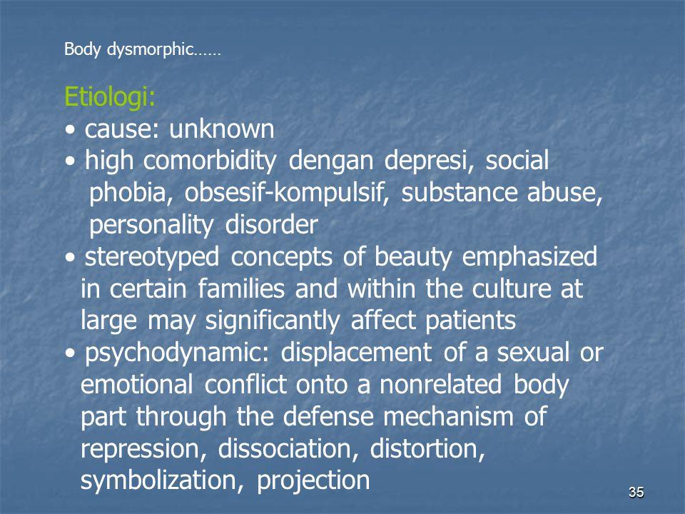35 Body dysmorphic…… Etiologi: cause: unknown high comorbidity dengan depresi, social phobia, obsesif-kompulsif, substance abuse, personality disorder