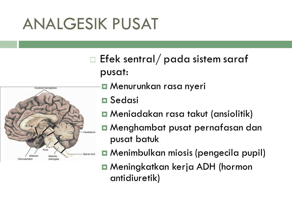 ANALGESIK PUSAT  Efek sentral/ pada sistem saraf pusat:  Menurunkan rasa nyeri  Sedasi  Meniadakan rasa takut (ansiolitik)  Menghambat pusat pern