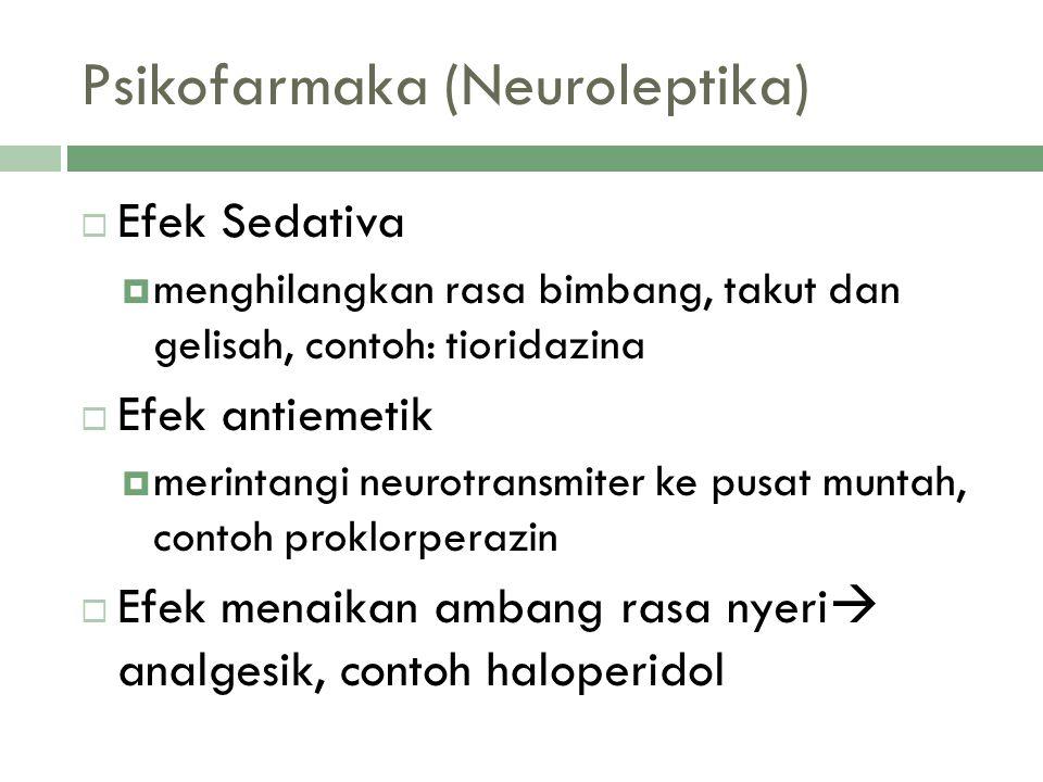 Psikofarmaka (Neuroleptika)  Efek Sedativa  menghilangkan rasa bimbang, takut dan gelisah, contoh: tioridazina  Efek antiemetik  merintangi neurot