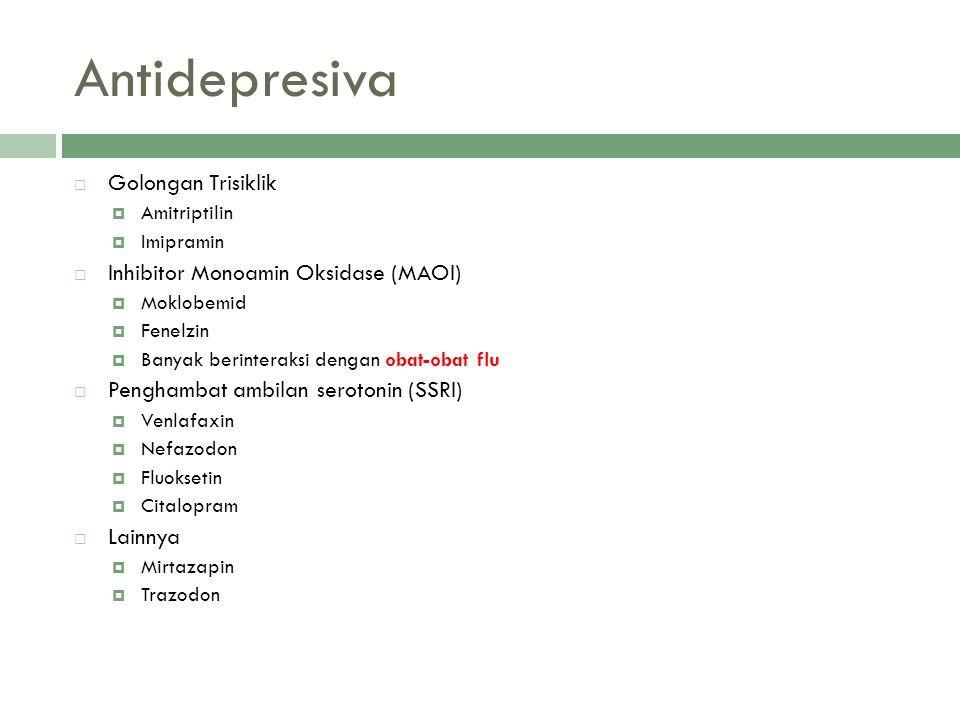 Antidepresiva  Golongan Trisiklik  Amitriptilin  Imipramin  Inhibitor Monoamin Oksidase (MAOI)  Moklobemid  Fenelzin  Banyak berinteraksi denga