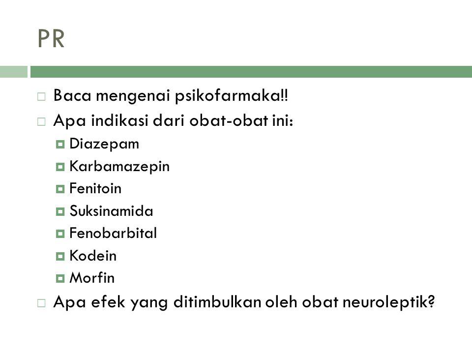 PR  Baca mengenai psikofarmaka!!  Apa indikasi dari obat-obat ini:  Diazepam  Karbamazepin  Fenitoin  Suksinamida  Fenobarbital  Kodein  Morf