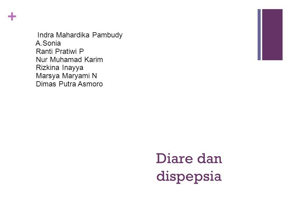 + Diare dan dispepsia Indra Mahardika Pambudy A.Sonia Ranti Pratiwi P Nur Muhamad Karim Rizkina Inayya Marsya Maryami N Dimas Putra Asmoro