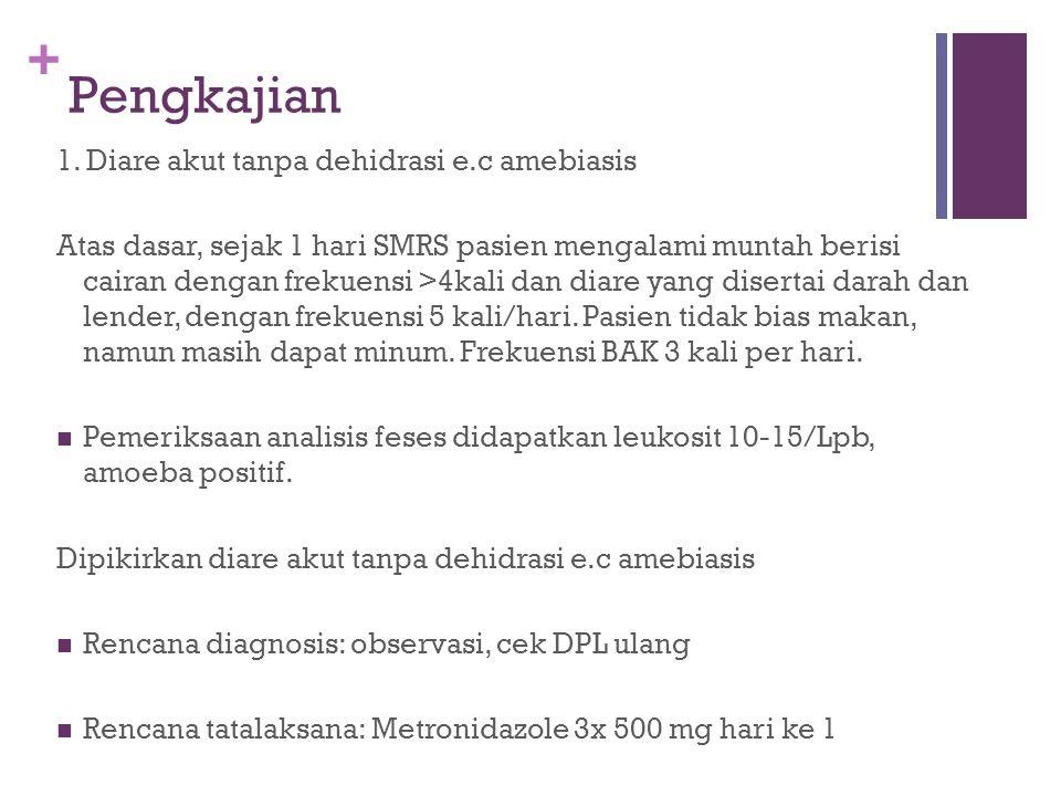 + Pengkajian 1. Diare akut tanpa dehidrasi e.c amebiasis Atas dasar, sejak 1 hari SMRS pasien mengalami muntah berisi cairan dengan frekuensi >4kali d
