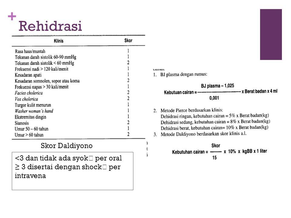 + Rehidrasi Skor Daldiyono <3 dan tidak ada syok  per oral ≥ 3 disertai dengan shock  per intravena
