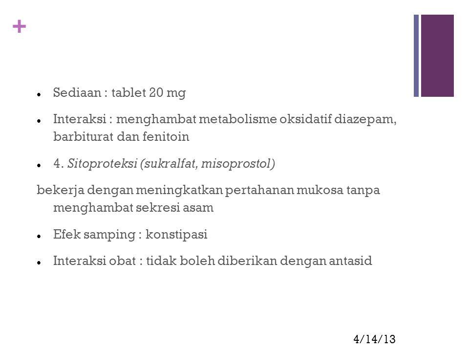 + 4/14/13 Sediaan : tablet 20 mg Interaksi : menghambat metabolisme oksidatif diazepam, barbiturat dan fenitoin 4. Sitoproteksi (sukralfat, misoprosto