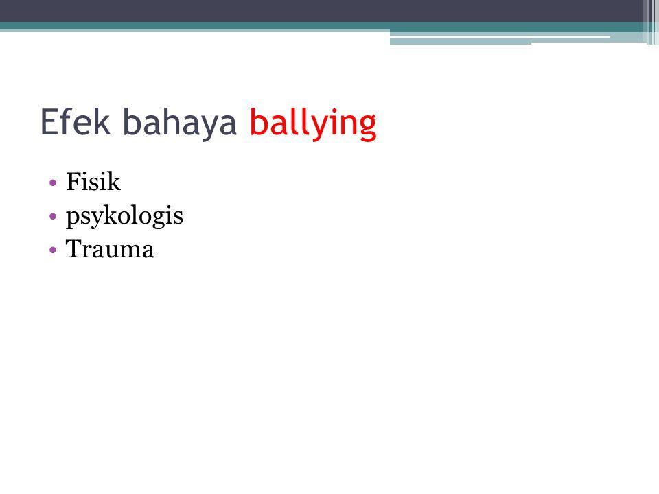 Efek bahaya ballying Fisik psykologis Trauma