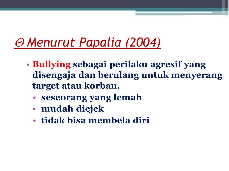  Menurut Riauskina,Djuwita (2005) Bullying perilaku yang agresif yang dilakukan berulang-ulang oleh seseorang/kelompok siswa yang memiliki kekuasaan, terhadap siswa-siswi lain yang lebih lemah, dengan tujuan menyakiti