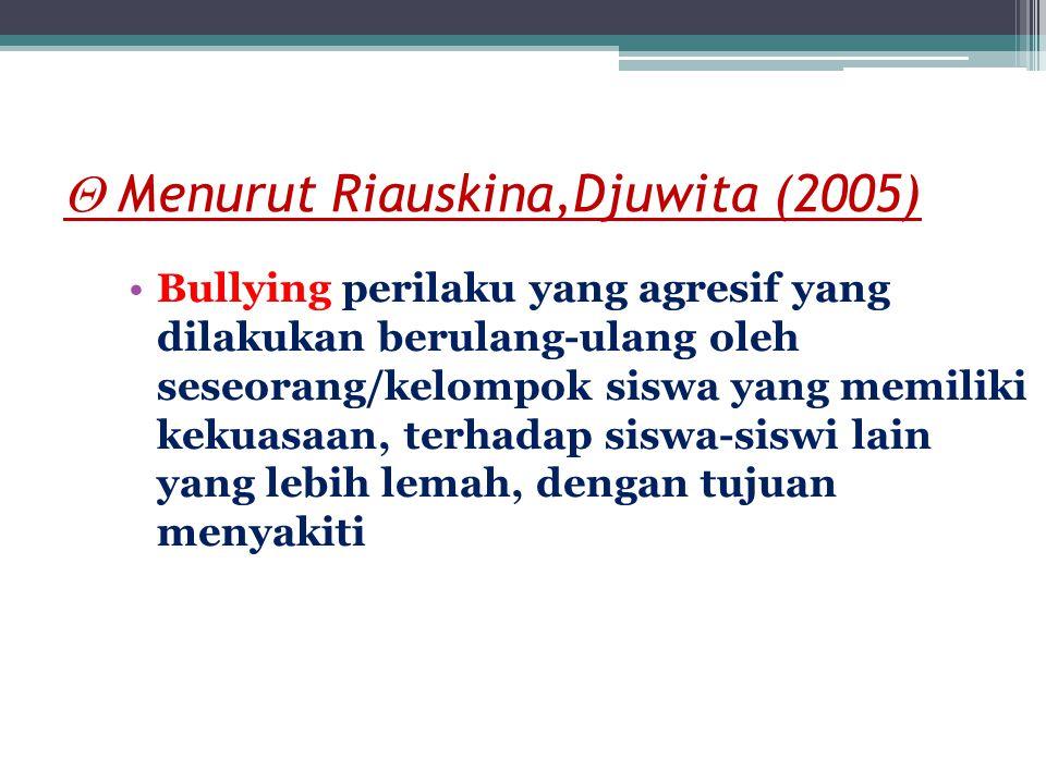 Kesimpulan Bullying adalah perilaku yang tidak senonoh yang diarahkan kepada orang lain yang dianggap lebih lemah