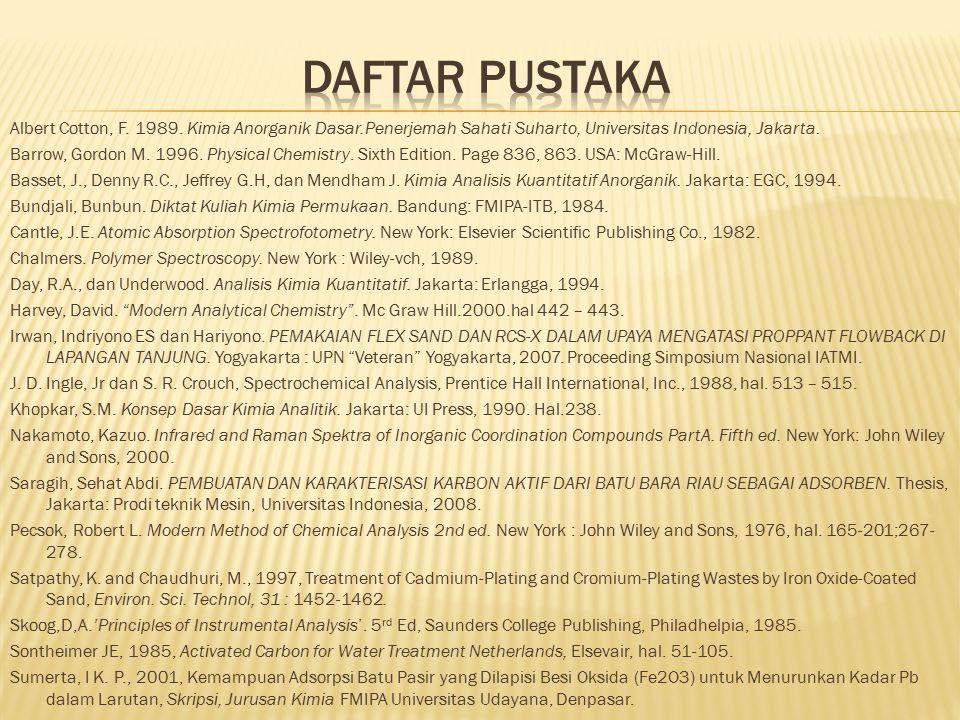 Albert Cotton, F. 1989. Kimia Anorganik Dasar.Penerjemah Sahati Suharto, Universitas Indonesia, Jakarta. Barrow, Gordon M. 1996. Physical Chemistry. S