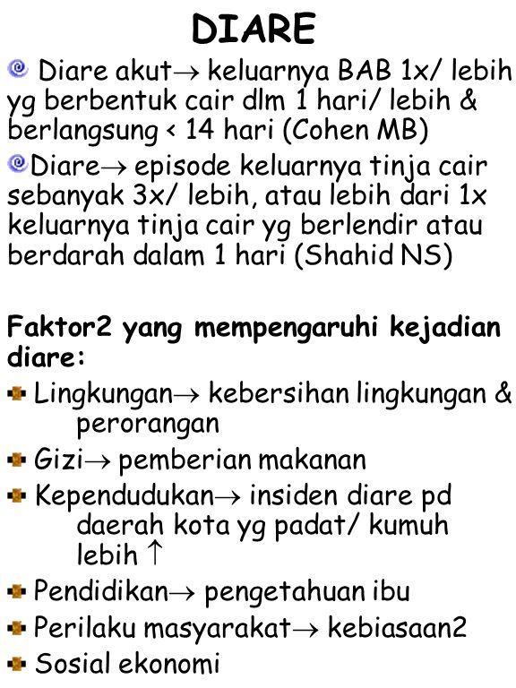 ETIOLOGI DIARE 1.Faktor infeksi a.