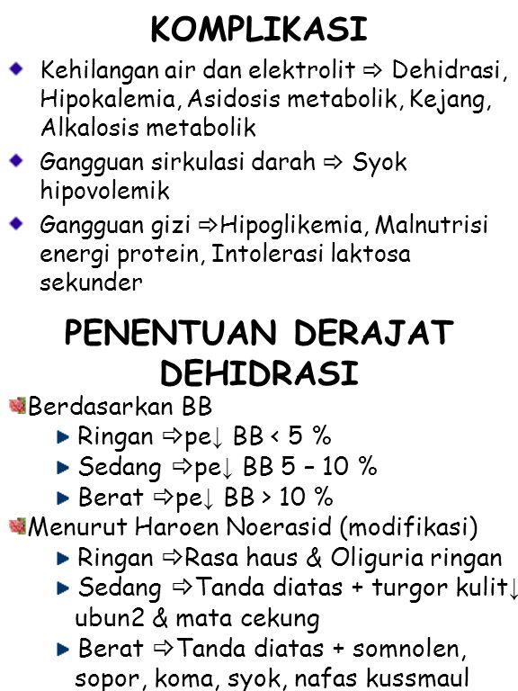Berdasarkan ketonusan cairan Dehidrasi Isotonis Kehilangan air dan Na dalam proporsi yang sama Merupakan dehidrasi yang terjadi karena diare Tanda  sangat cepat, haus ekstremitas dingin dan berkeringat, kesadaran menurun dan muncul gejala syok hipovolemik Dehidrasi Hipertonis Terdapat kekurangan cairan air dan Na tetapi proporsi kehilangan air lebih banyak (Na >150 mmol/L) Tanda  anak sangat haus,iritabel Dehidrasi Hipotonis Terdapat kekurangan cairan air dan Na tetapi proporsi kehilangan Na lebih banyak (Na >130 mmol/L) Tanda  anak letargi, kejang