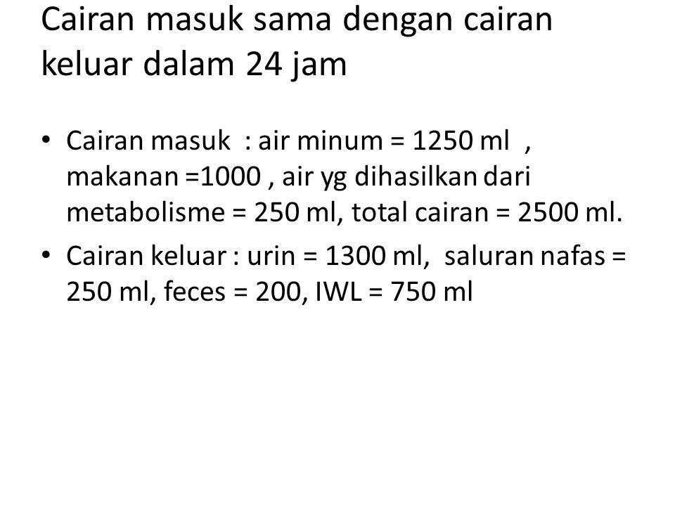 Cairan masuk sama dengan cairan keluar dalam 24 jam Cairan masuk : air minum = 1250 ml, makanan =1000, air yg dihasilkan dari metabolisme = 250 ml, to