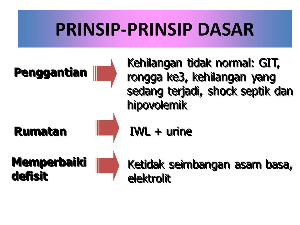 PRINSIP-PRINSIP DASAR Penggantian Rumatan Memperbaiki defisit Memperbaiki defisit Kehilangan tidak normal: GIT, rongga ke3, kehilangan yang sedang ter