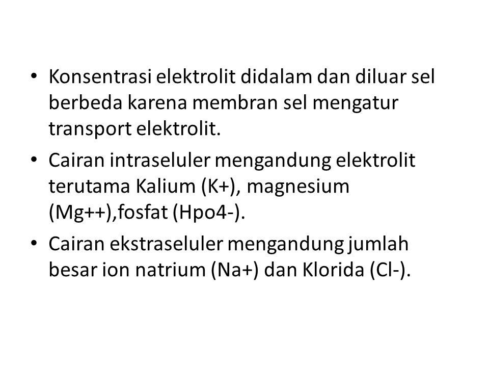 Konsentrasi elektrolit didalam dan diluar sel berbeda karena membran sel mengatur transport elektrolit. Cairan intraseluler mengandung elektrolit teru