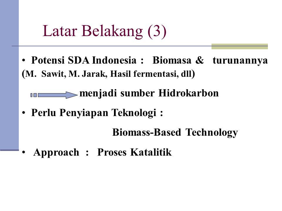 Latar Belakang (3) Potensi SDA Indonesia : Biomasa & turunannya ( M. Sawit, M. Jarak, Hasil fermentasi, dll ) menjadi sumber Hidrokarbon Perlu Penyiap