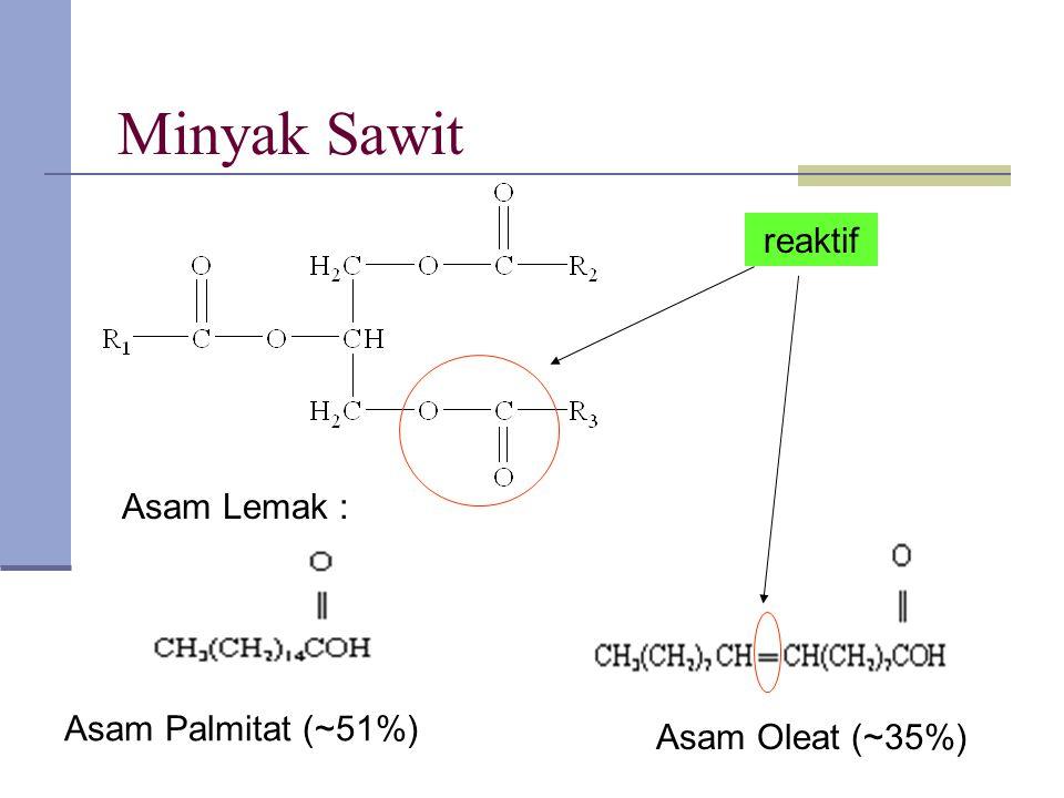 Minyak Sawit reaktif Asam Lemak : Asam Palmitat (~51%) Asam Oleat (~35%) reaktif