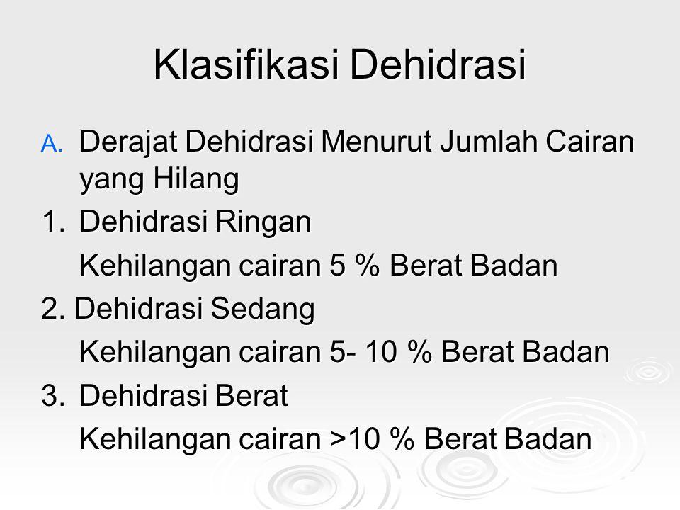 Klasifikasi Dehidrasi A. Derajat Dehidrasi Menurut Jumlah Cairan yang Hilang 1.Dehidrasi Ringan Kehilangan cairan 5 % Berat Badan 2. Dehidrasi Sedang