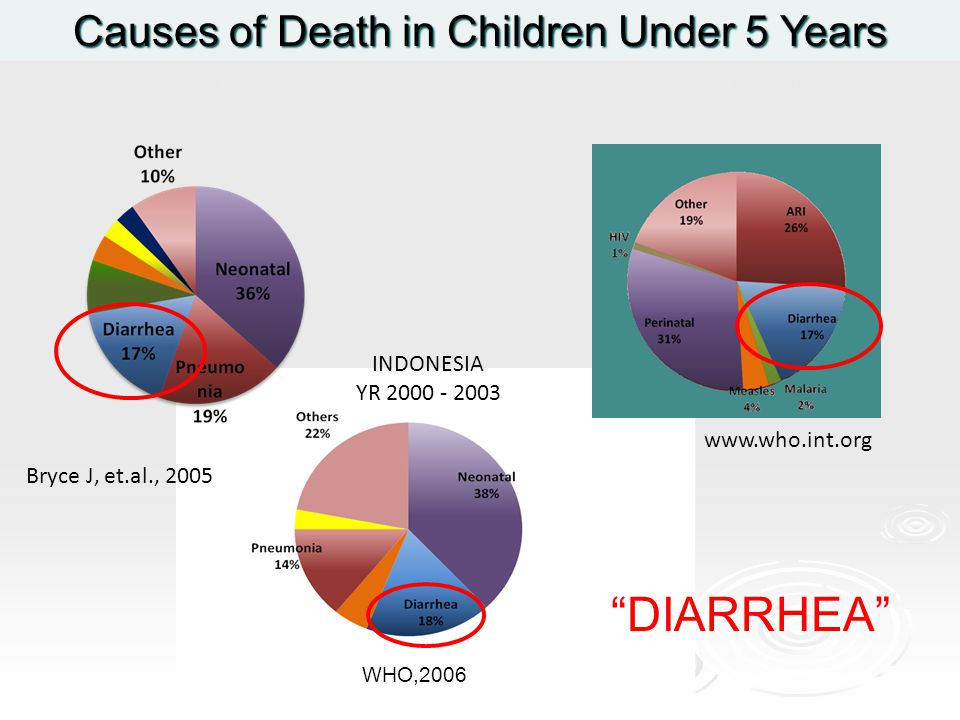 "GLOBAL Causes of Death in Children Under 5 Years INDONESIA YR 2000 - 2003 Bryce J, et.al., 2005 WHO,2006 ASIA – WHO SEARO YR 2002 www.who.int.org ""DIA"