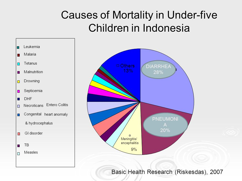 Causes of Mortality in Under-five Children in Indonesia Basic Health Research (Riskesdas), 2007 Septicemia Drowning Tetanus Congenital heart anomaly &