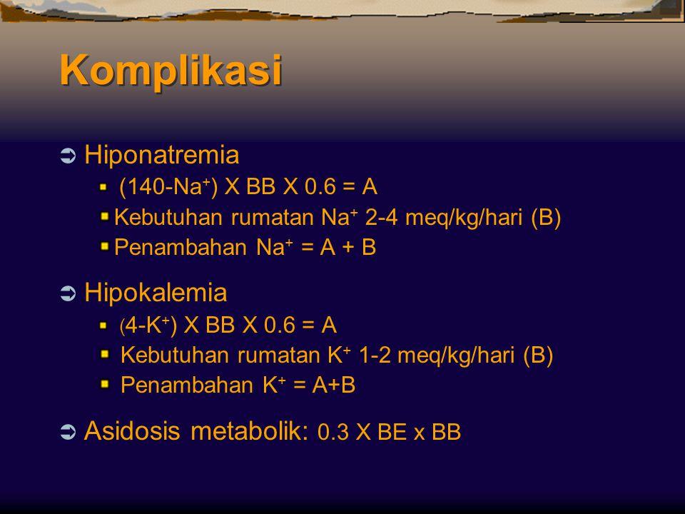 Komplikasi  Hiponatremia (140-Na + ) X BB X 0.6 = A Kebutuhan rumatan Na + 2-4 meq/kg/hari (B) Penambahan Na + = A + B  Hipokalemia ( 4-K + ) X BB X