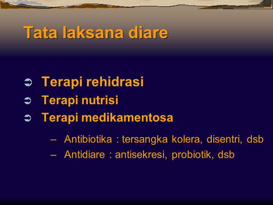 Tata laksana diare  Terapi rehidrasi  Terapi nutrisi  Terapi medikamentosa –Antibiotika : tersangka kolera, disentri, dsb –Antidiare : antisekresi,