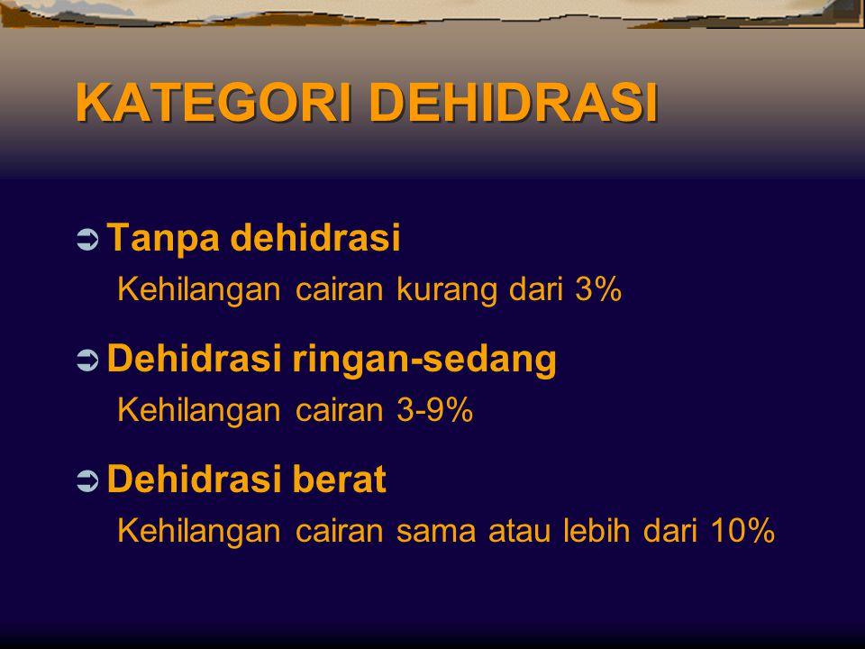 KATEGORI DEHIDRASI  Tanpa dehidrasi Kehilangan cairan kurang dari 3%  Dehidrasi ringan-sedang Kehilangan cairan 3-9%  Dehidrasi berat Kehilangan ca