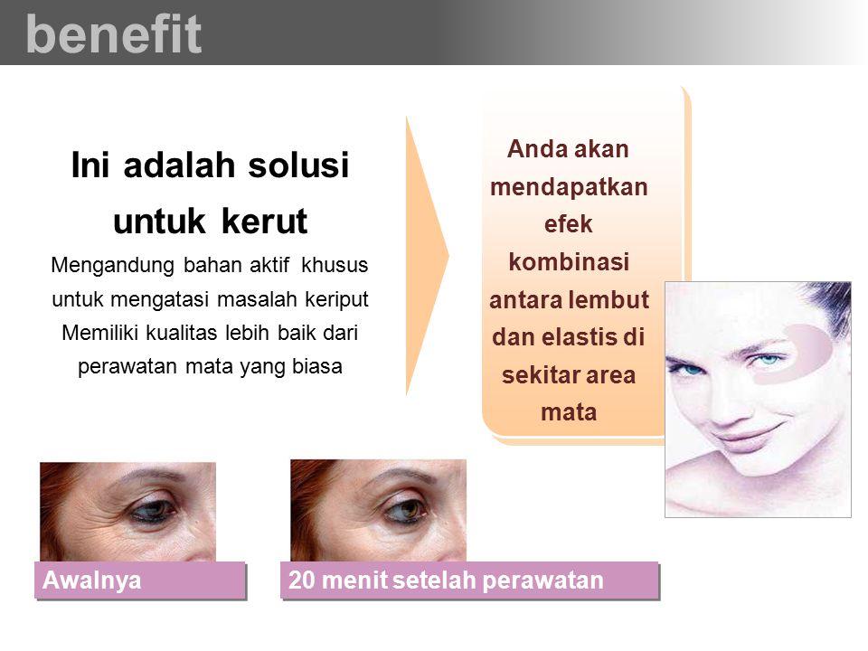 Mengandung bahan aktif khusus untuk mengatasi masalah keriput Memiliki kualitas lebih baik dari perawatan mata yang biasa Ini adalah solusi untuk keru
