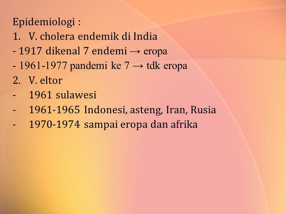 Epidemiologi : 1.V. cholera endemik di India - 1917 dikenal 7 endemi → eropa - 1961-1977 pandemi ke 7 → tdk eropa 2.V. eltor -1961 sulawesi -1961-1965
