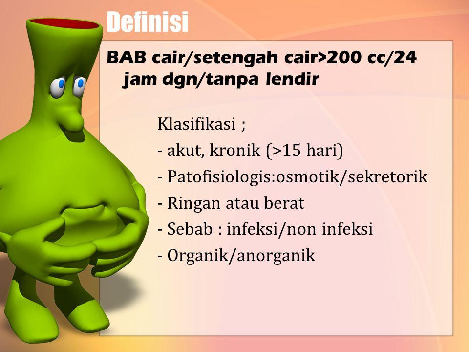 Definisi BAB cair/setengah cair>200 cc/24 jam dgn/tanpa lendir Klasifikasi ; - akut, kronik (>15 hari) - Patofisiologis:osmotik/sekretorik - Ringan atau berat - Sebab : infeksi/non infeksi - Organik/anorganik