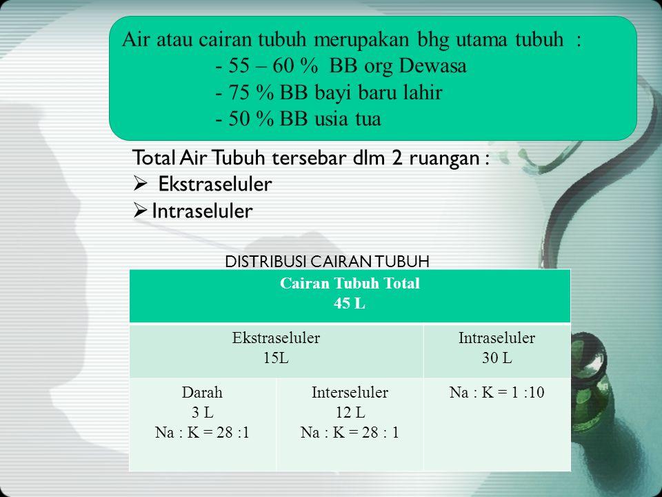 KH,P,L 3 Total Air Tubuh tersebar dlm 2 ruangan :  Ekstraseluler  Intraseluler Cairan Tubuh Total 45 L Ekstraseluler 15L Intraseluler 30 L Darah 3 L Na : K = 28 :1 Interseluler 12 L Na : K = 28 : 1 Na : K = 1 :10 DISTRIBUSI CAIRAN TUBUH Air atau cairan tubuh merupakan bhg utama tubuh : - 55 – 60 % BB org Dewasa - 75 % BB bayi baru lahir - 50 % BB usia tua
