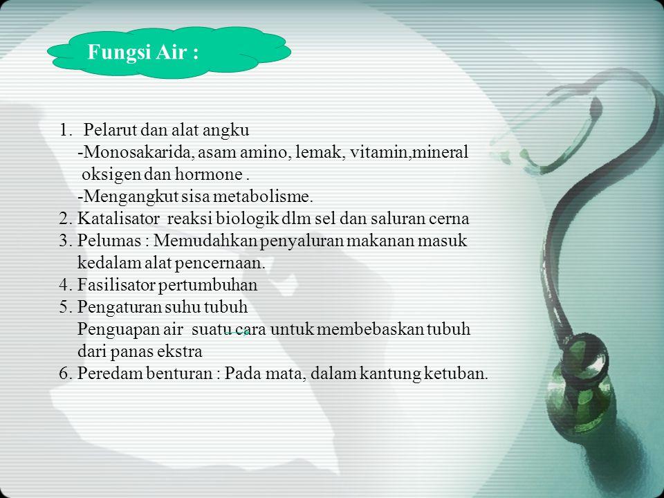 1.Pelarut dan alat angku -Monosakarida, asam amino, lemak, vitamin,mineral oksigen dan hormone.