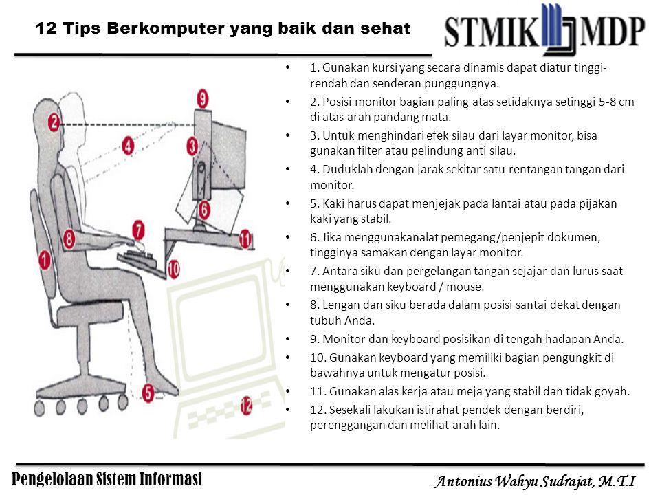 Pengelolaan Sistem Informasi Antonius Wahyu Sudrajat, M.T.I 1. Gunakan kursi yang secara dinamis dapat diatur tinggi- rendah dan senderan punggungnya.