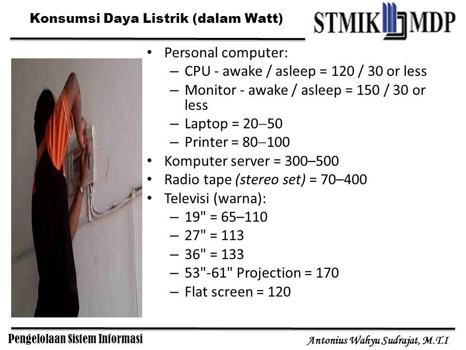 Pengelolaan Sistem Informasi Antonius Wahyu Sudrajat, M.T.I Konsumsi Daya Listrik (dalam Watt) Personal computer: – CPU - awake / asleep = 120 / 30 or less – Monitor - awake / asleep = 150 / 30 or less – Laptop = 20  50 – Printer = 80  100 Komputer server = 300–500 Radio tape (stereo set) = 70–400 Televisi (warna): – 19 = 65–110 – 27 = 113 – 36 = 133 – 53 -61 Projection = 170 – Flat screen = 120