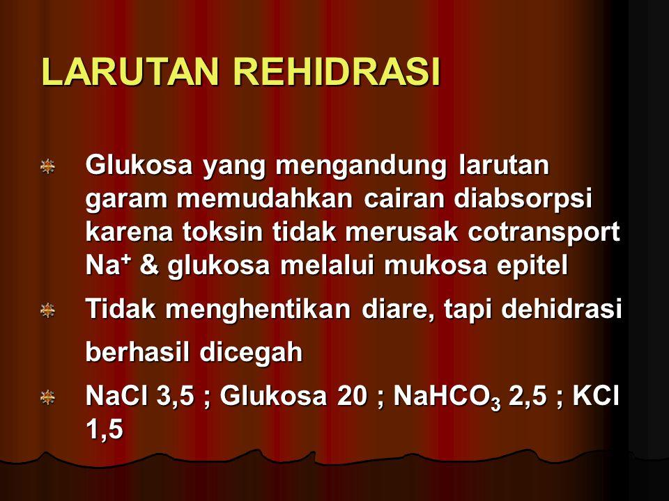 LARUTAN REHIDRASI Glukosa yang mengandung larutan garam memudahkan cairan diabsorpsi karena toksin tidak merusak cotransport Na+ & glukosa melalui mukosa epitel Tidak menghentikan diare, tapi dehidrasi berhasil dicegah NaCl 3,5 ; Glukosa 20 ; NaHCO3 2,5 ; KCl 1,5