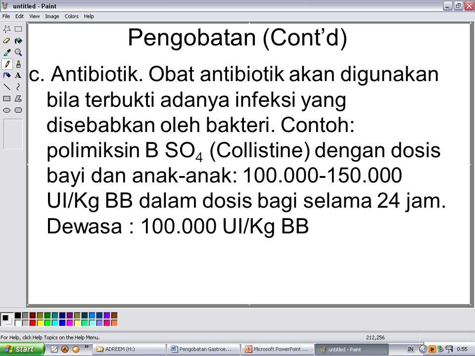 Pengobatan (Cont'd) c. Antibiotik. Obat antibiotik akan digunakan bila terbukti adanya infeksi yang disebabkan oleh bakteri. Contoh: polimiksin B SO 4