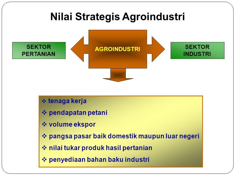 SEKTOR PERTANIAN SEKTOR INDUSTRI Nilai Strategis Agroindustri  tenaga kerja  pendapatan petani  volume ekspor  pangsa pasar baik domestik maupun l