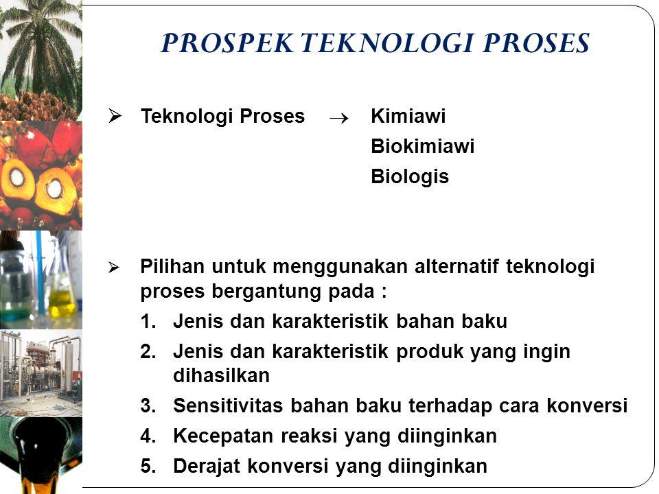 PROSPEK TEKNOLOGI PROSES  Teknologi Proses  Kimiawi Biokimiawi Biologis  Pilihan untuk menggunakan alternatif teknologi proses bergantung pada : 1.