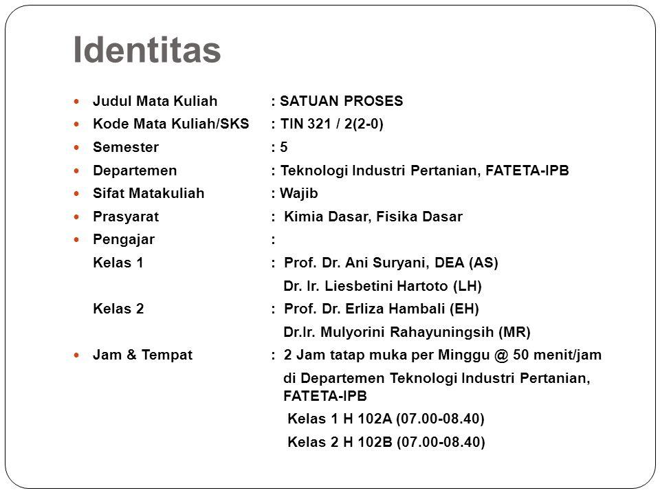 Identitas Judul Mata Kuliah: SATUAN PROSES Kode Mata Kuliah/SKS: TIN 321 / 2(2-0) Semester: 5 Departemen: Teknologi Industri Pertanian, FATETA-IPB Sif
