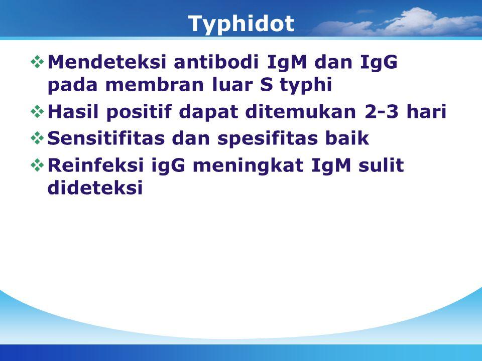 Typhidot  Mendeteksi antibodi IgM dan IgG pada membran luar S typhi  Hasil positif dapat ditemukan 2-3 hari  Sensitifitas dan spesifitas baik  Rei