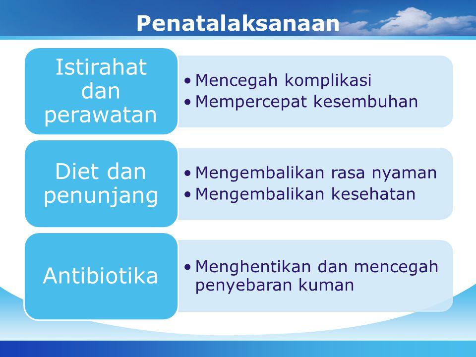 Penatalaksanaan Mencegah komplikasi Mempercepat kesembuhan Istirahat dan perawatan Mengembalikan rasa nyaman Mengembalikan kesehatan Diet dan penunjan