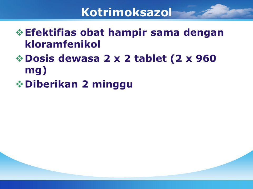 Kotrimoksazol  Efektifias obat hampir sama dengan kloramfenikol  Dosis dewasa 2 x 2 tablet (2 x 960 mg)  Diberikan 2 minggu
