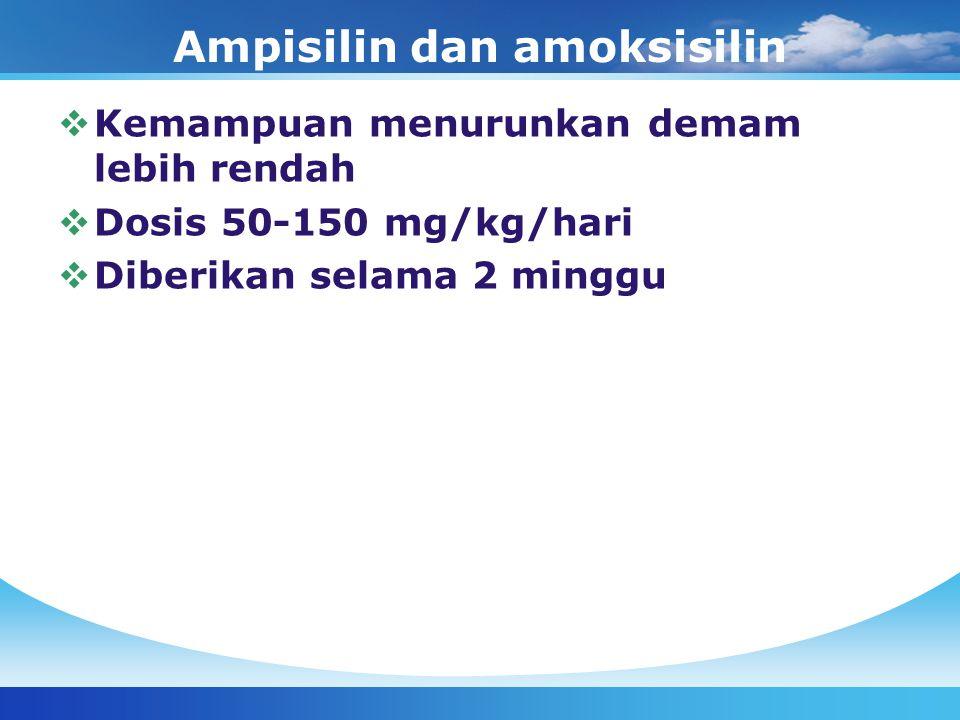 Ampisilin dan amoksisilin  Kemampuan menurunkan demam lebih rendah  Dosis 50-150 mg/kg/hari  Diberikan selama 2 minggu