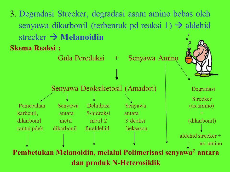 3. Degradasi Strecker, degradasi asam amino bebas oleh senyawa dikarbonil (terbentuk pd reaksi 1)  aldehid strecker  Melanoidin Skema Reaksi : Gula