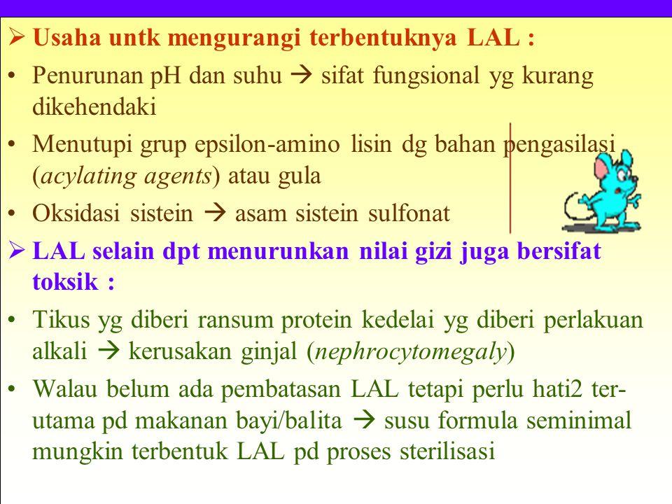  Usaha untk mengurangi terbentuknya LAL : Penurunan pH dan suhu  sifat fungsional yg kurang dikehendaki Menutupi grup epsilon-amino lisin dg bahan pengasilasi (acylating agents) atau gula Oksidasi sistein  asam sistein sulfonat  LAL selain dpt menurunkan nilai gizi juga bersifat toksik : Tikus yg diberi ransum protein kedelai yg diberi perlakuan alkali  kerusakan ginjal (nephrocytomegaly) Walau belum ada pembatasan LAL tetapi perlu hati2 ter- utama pd makanan bayi/balita  susu formula seminimal mungkin terbentuk LAL pd proses sterilisasi